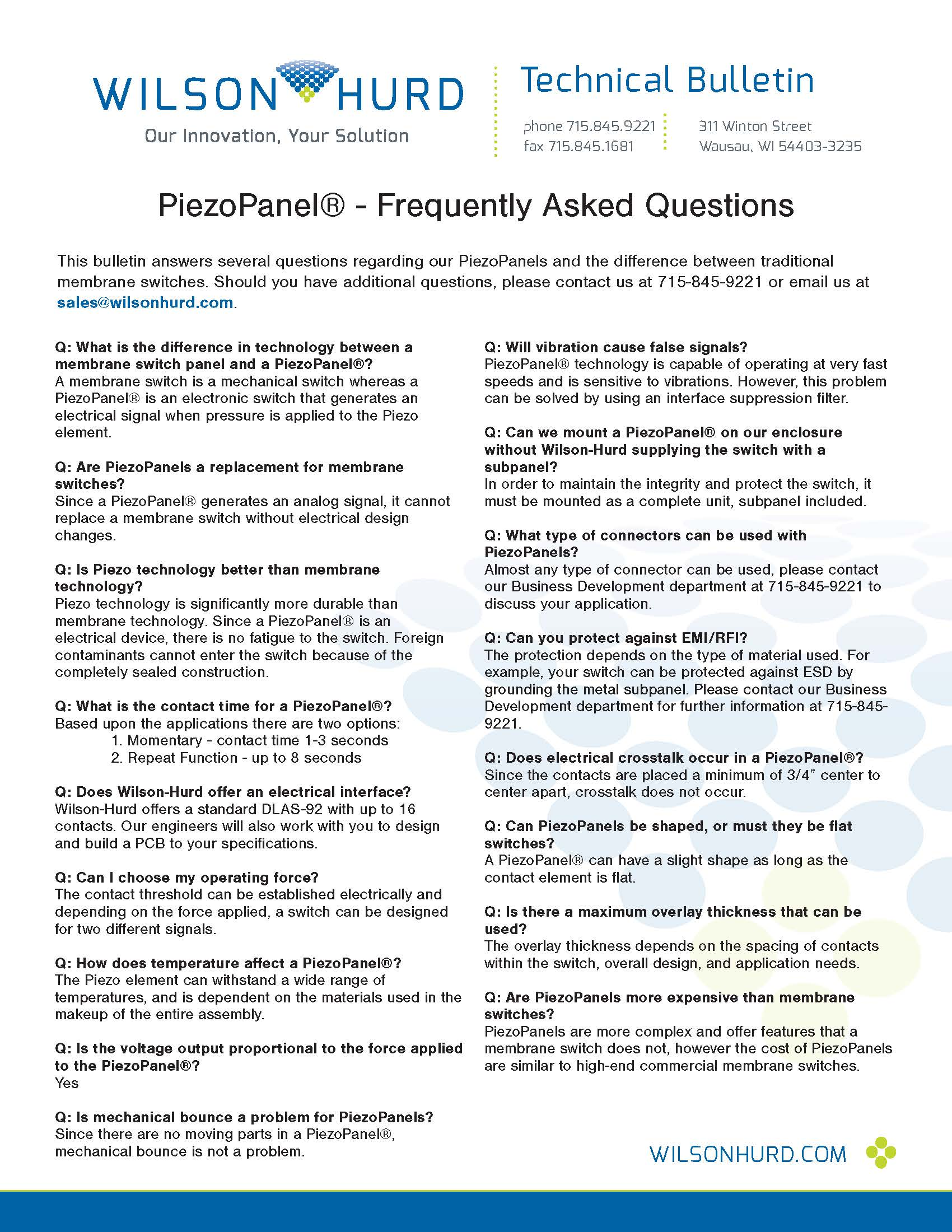 PiezoPanel - Frequently Asked Questions