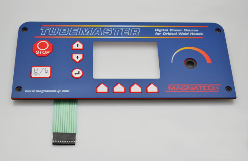 Membrane switch panel with plastic overlay and elastomeric keys